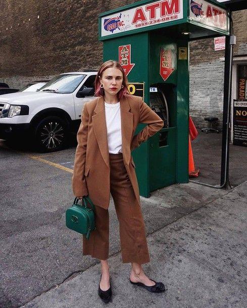 Coat: tumblr camel camel pants culottes palazzo pants cropped pants top white top bag green bag