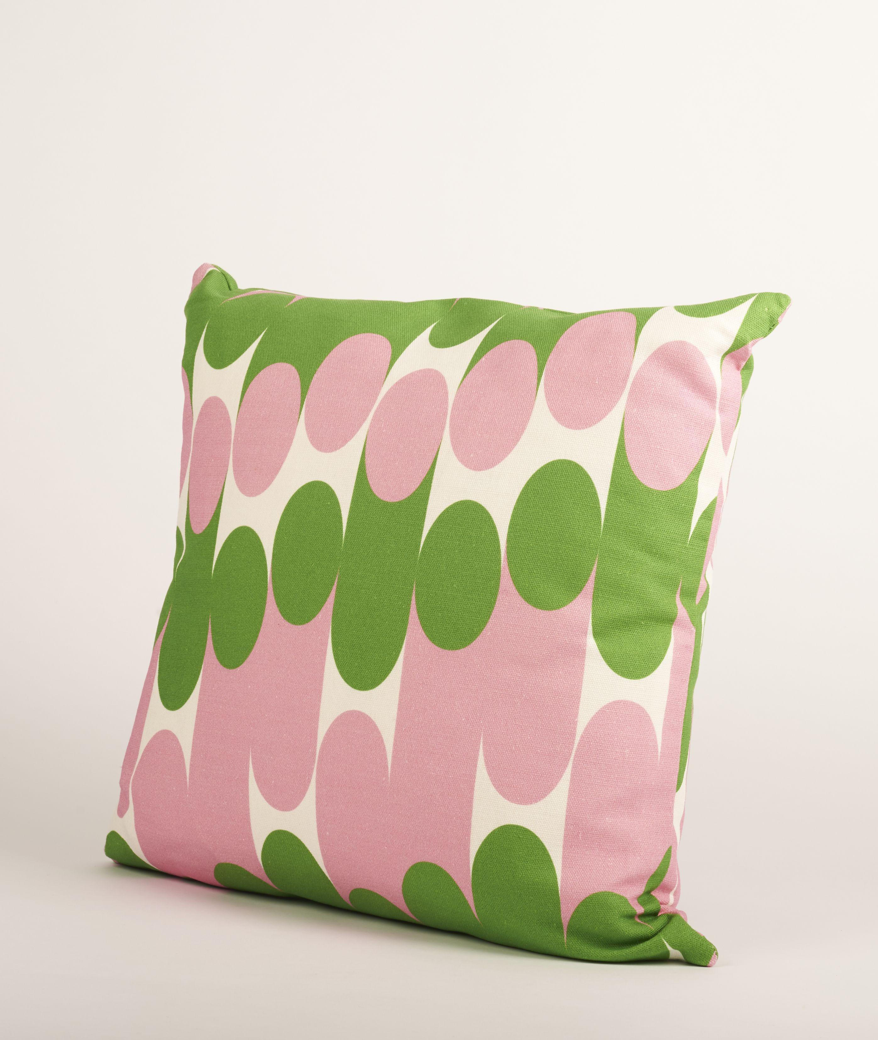 Laura spring pink and green molkky cushion this cushionus playful