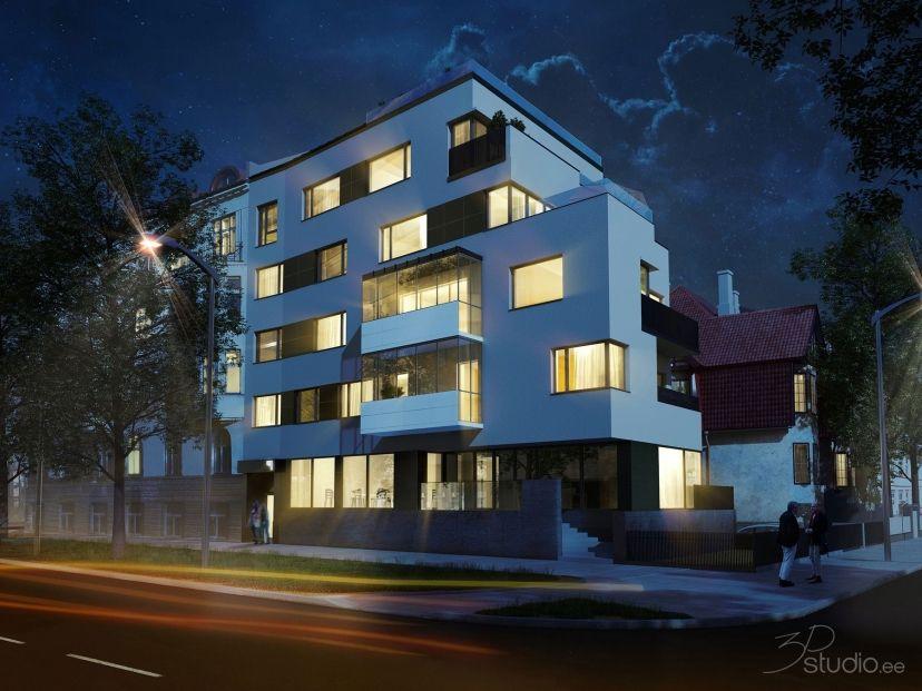 Apartment Building At Night kreutzwaldi, apartment, visualization, 3d, night, shot | modern