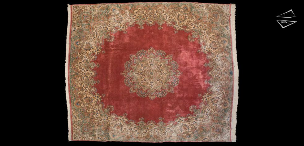 "Persian Kerman Square Signed Rug 11'10"" x 13'11"""