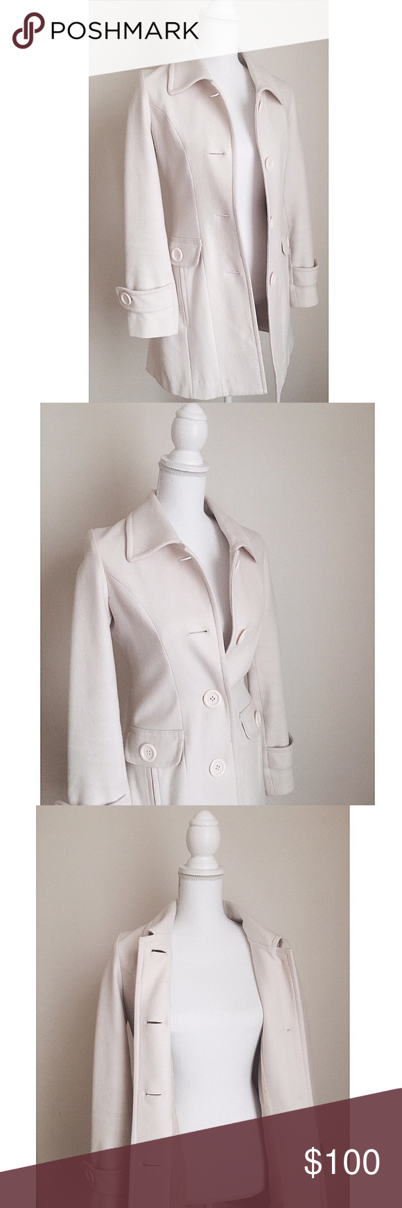 Ivory Wool-Blend Trench ✨ Absolutely stunning piece - Wool blended ivory trench - Structured & flattering fit - The most flawless coat I've ever owned ⚜️ Purchased from a local boutique for $225 Jackets & Coats