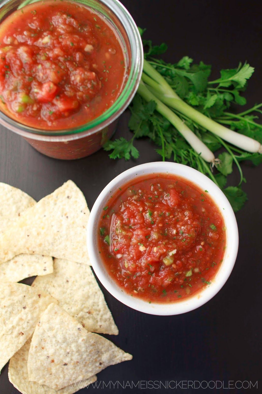 This salsa is a family favorite! It only takes 5 minutes to make and oh so delicious! | My Name Is Snickerdoodle