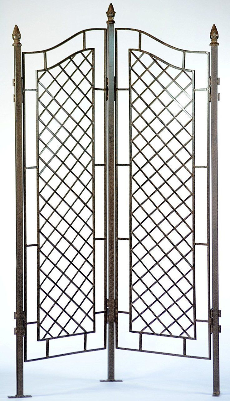 Two Panel Trellis Wrought Iron Ivy Garden Screen Large Trellis