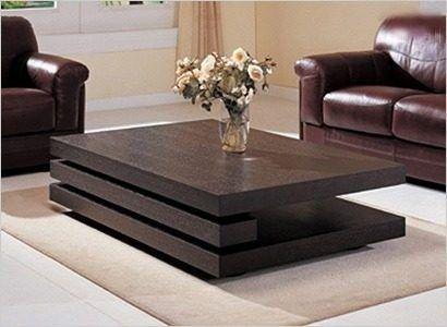 mesa ratona laqueada minimalista madera moderna tres niveles