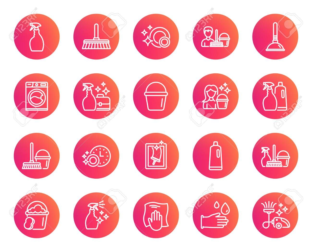Cleaning line icons. Laundry, Sponge and Vacuum cleaner