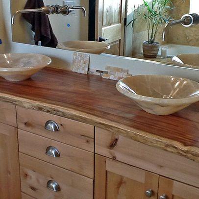 Bathroom Vanities Boise onyx vessel sinks on natural edge wood slab vanity top