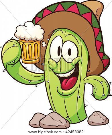 Cactus mexicano de dibujos animados sosteniendo una cerveza. Ilustración  con gradientes simples en Vector clip art. c5d4cea88b3