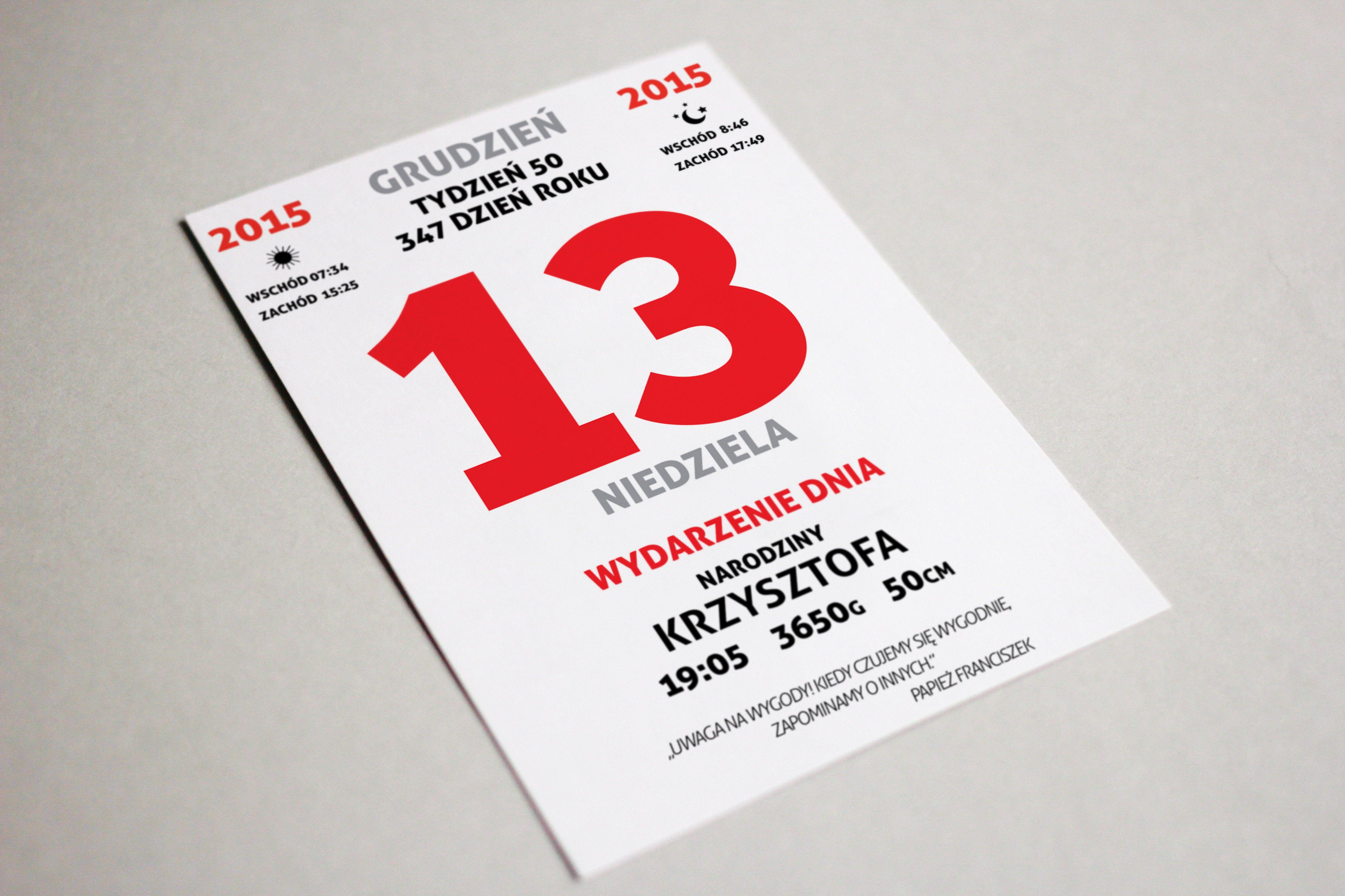 Kartka Z Kalendarza Metryczka Dla Dziecka Prezent Dla Noworodka