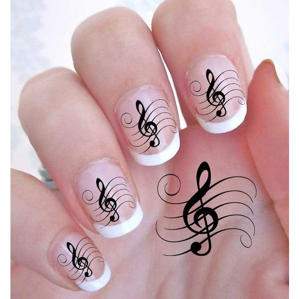 42 TREBLE CLEF Music Note Nail Art Decals - G Clef ROCKER WaterSlide ...