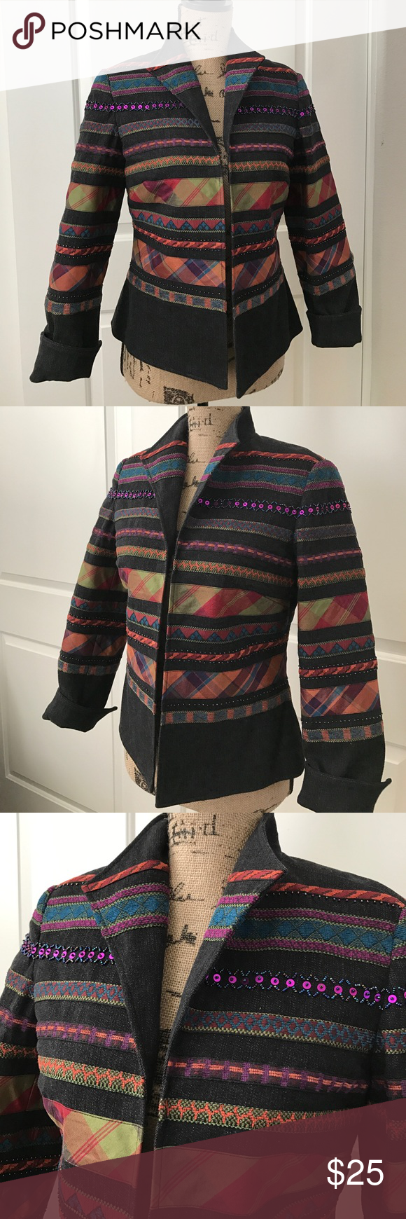 COLDWATER CREEK Dark denim boho jacket BRAND NEW NEVER WORN. NO TAGS. Beautiful black denim boho jacket. Features beautiful embroidered fabric stripes with sequins and beading throughout. Cuffed sleeves. Open front. It is fully lined. Fabric is 98% cotton 2% spandex. It is a size petite 4. Coldwater Creek Jackets & Coats