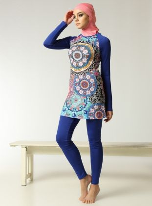Etnik Desenli Kapali Mayo Saks Mavisi Mayovera Muslim Swimwear Modest Swimwear Swimwear