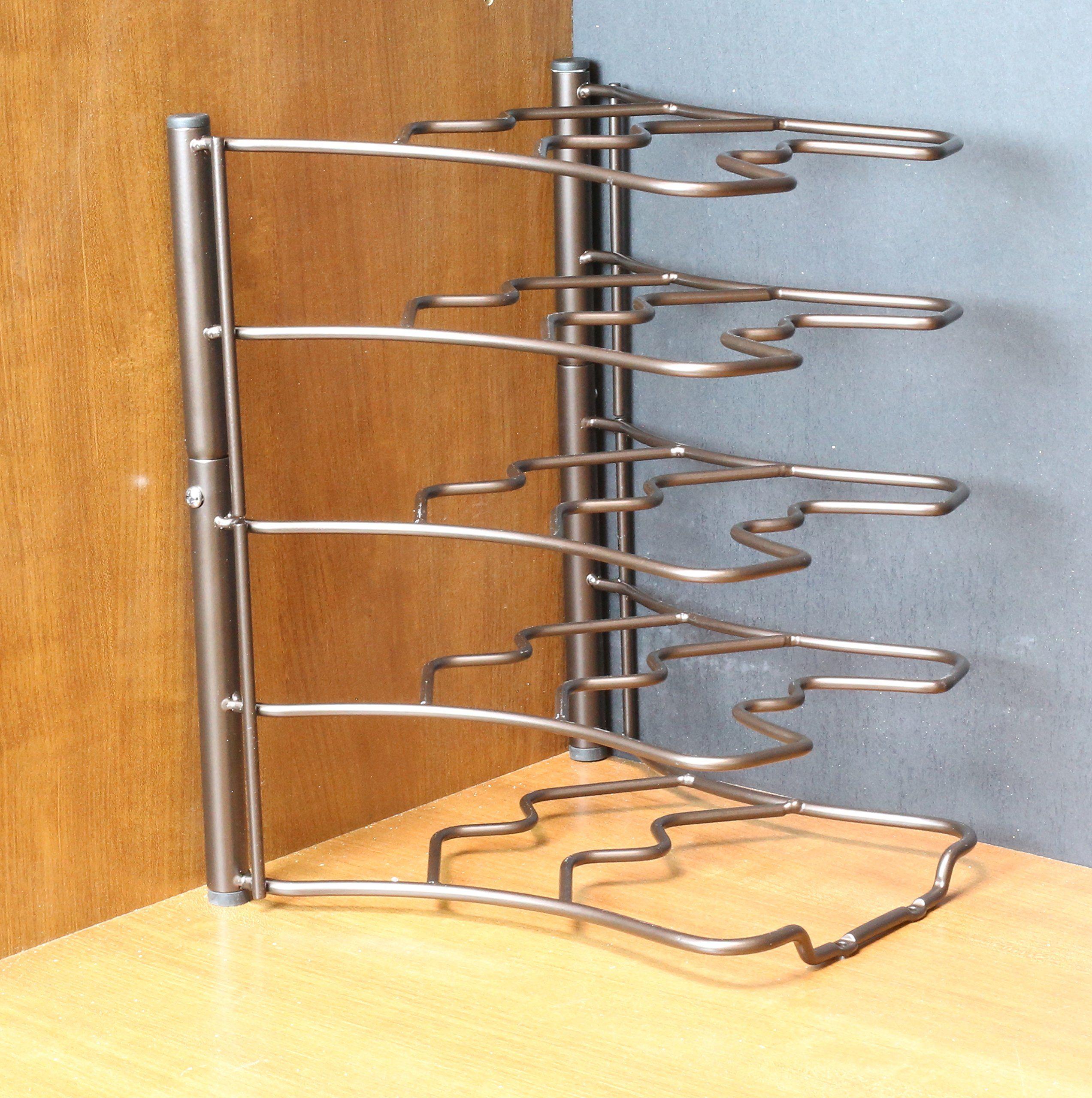Amazon Com Decobros Kitchen Counter And Cabinet Pan Organizer Shelf