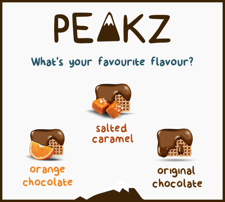 Peakz come in three delicious flavours Salted Caramel