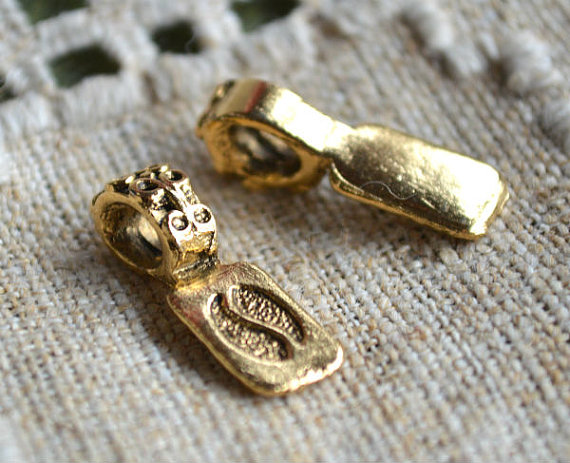 2 Antiqued Gold Plated Pewter 22x8mm Rectangle Glue-on Bails