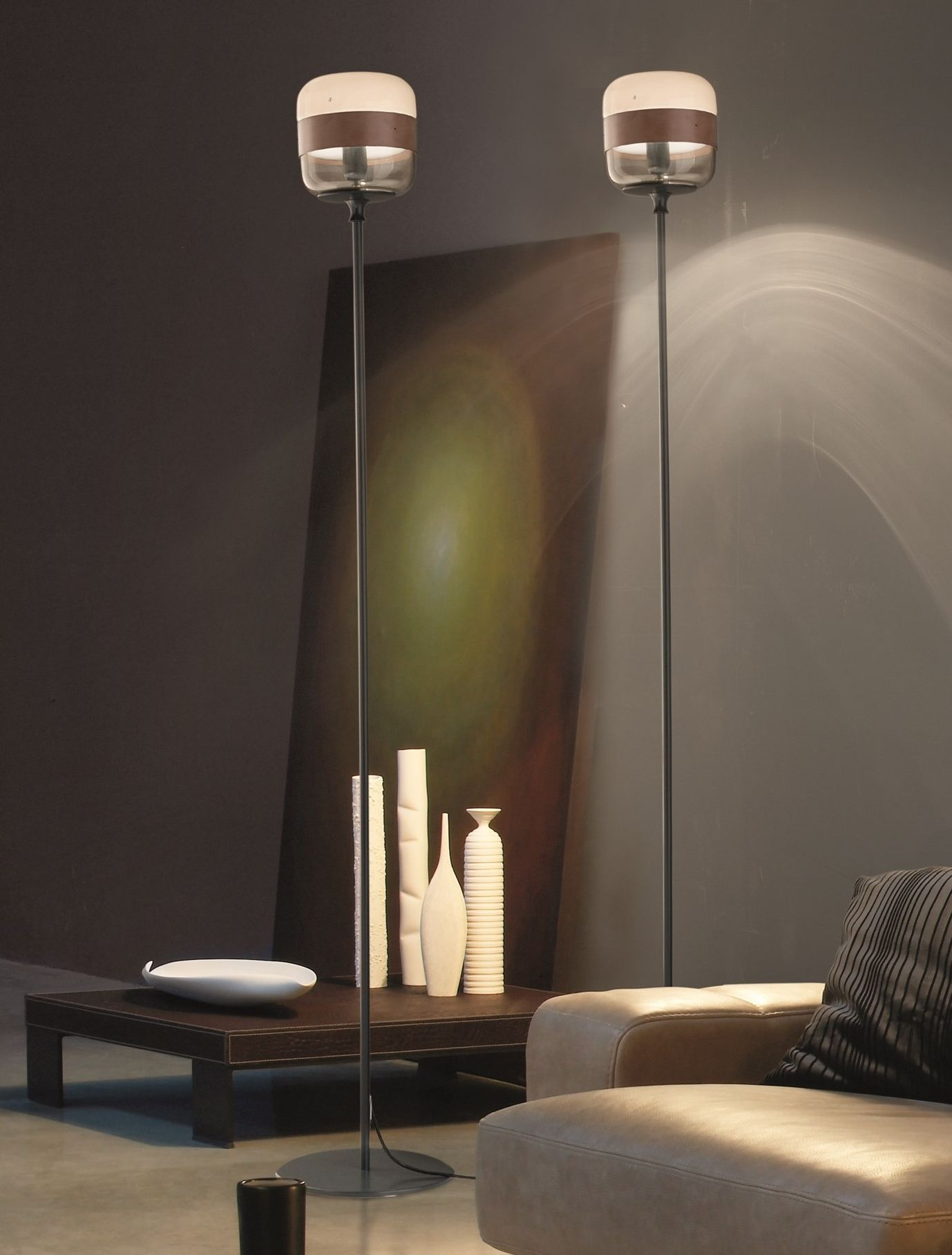 Direct Indirect Light Blown Glass Floor Lamp Futura Pt Futura Collection By Vetreria Vistosi Design Hangar Design Group Glass Floor Lamp Floor Lamp Design Glass Floor