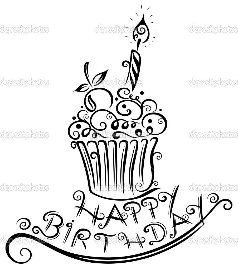 Birthday Muffin Cupcake Stock Vector Christinekrahl