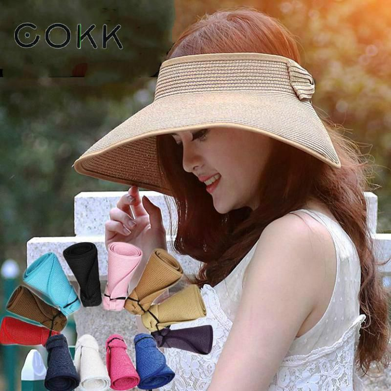 12.63 - Cool COKK Brand 2017 New Spring Summer Visors Cap Foldable Wide  Large Brim Sun Hat Beach Hats for Women Straw Hat Wholesale Chapeau - Buy  it Now! 91e70b55860