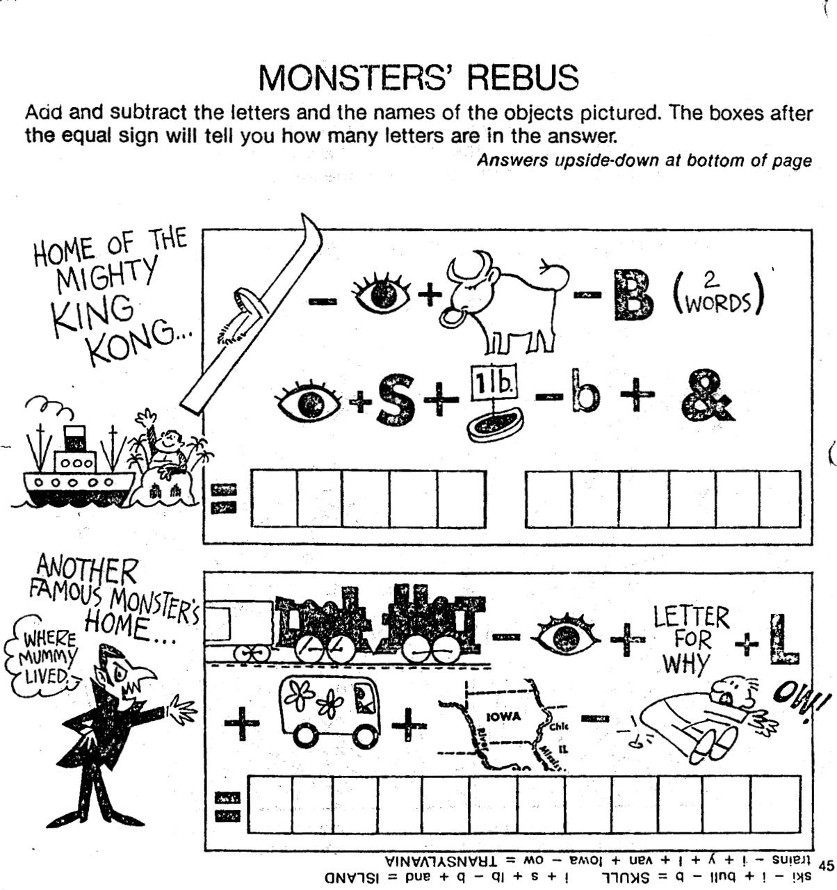 Reading Monster Rebus