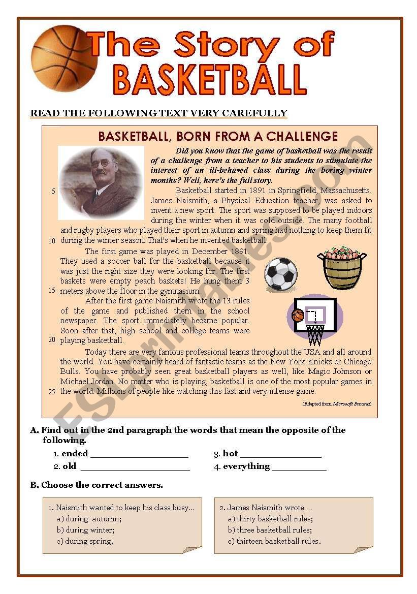 This Is A Test A Gave My Classes Some Time Ago About The Origin Of Bas Reading Comprehension Reading Comprehension Worksheets Third Grade Reading Comprehension