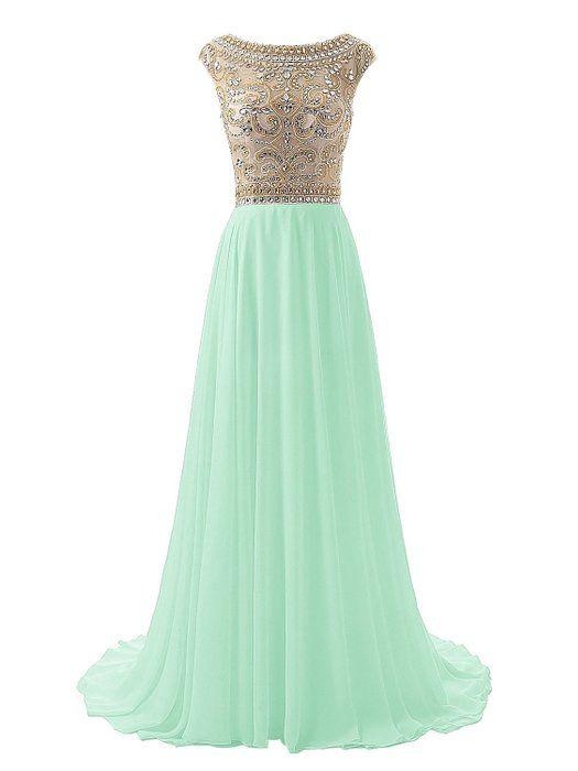 Wedtrend Women's Floor Length Beaded Prom Dress Chiffon Evening Gowns 4 Mint WT10169