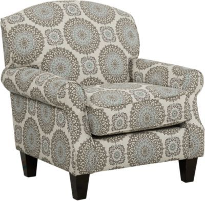 Pennington Blue Medallion Accent Chair Fabric Accent
