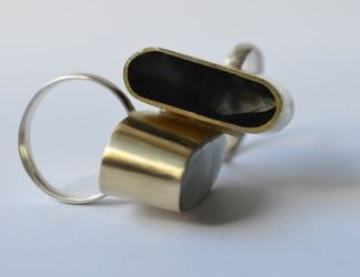 Black glass and brass ring
