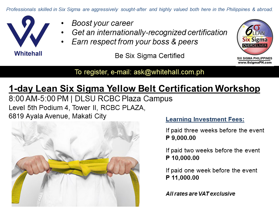 1 Day Six Sigma Yellow Belt Workshop For Managers Executives 1