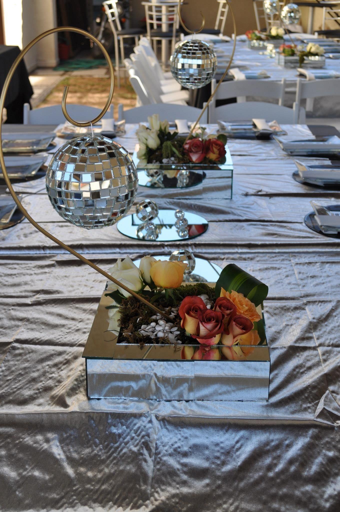 Wonderful 70s Dinner Party Ideas Part - 14: Flower Arrangement For The Disco Party