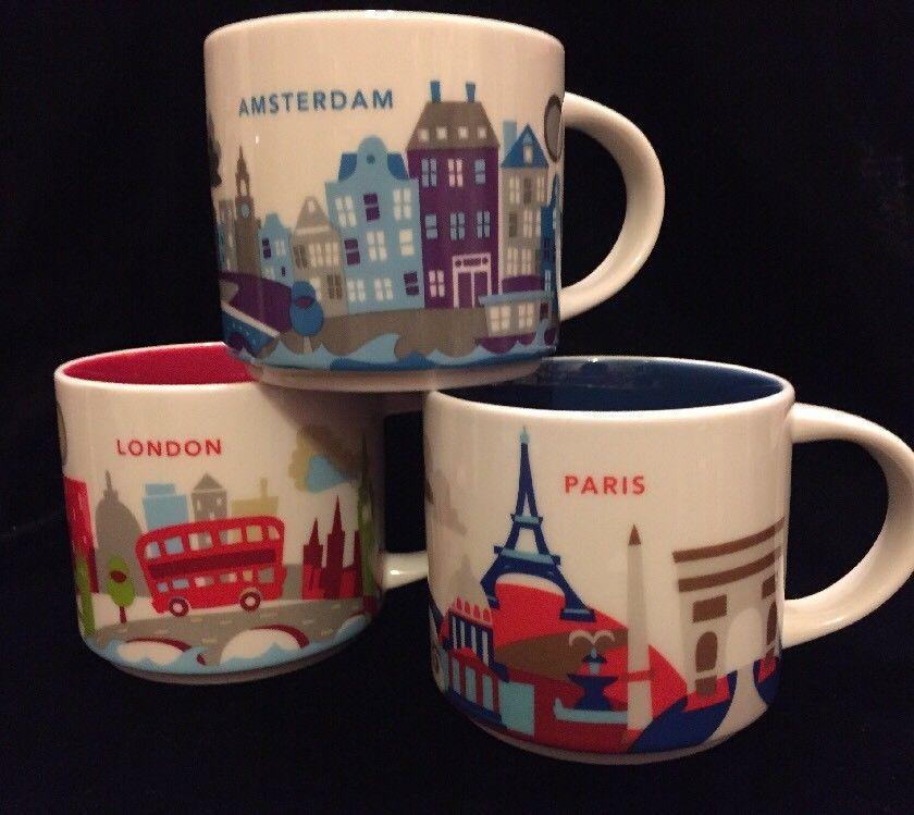 Starbucks Amsterdam London Paris YAH Mug Set Coffee Cup