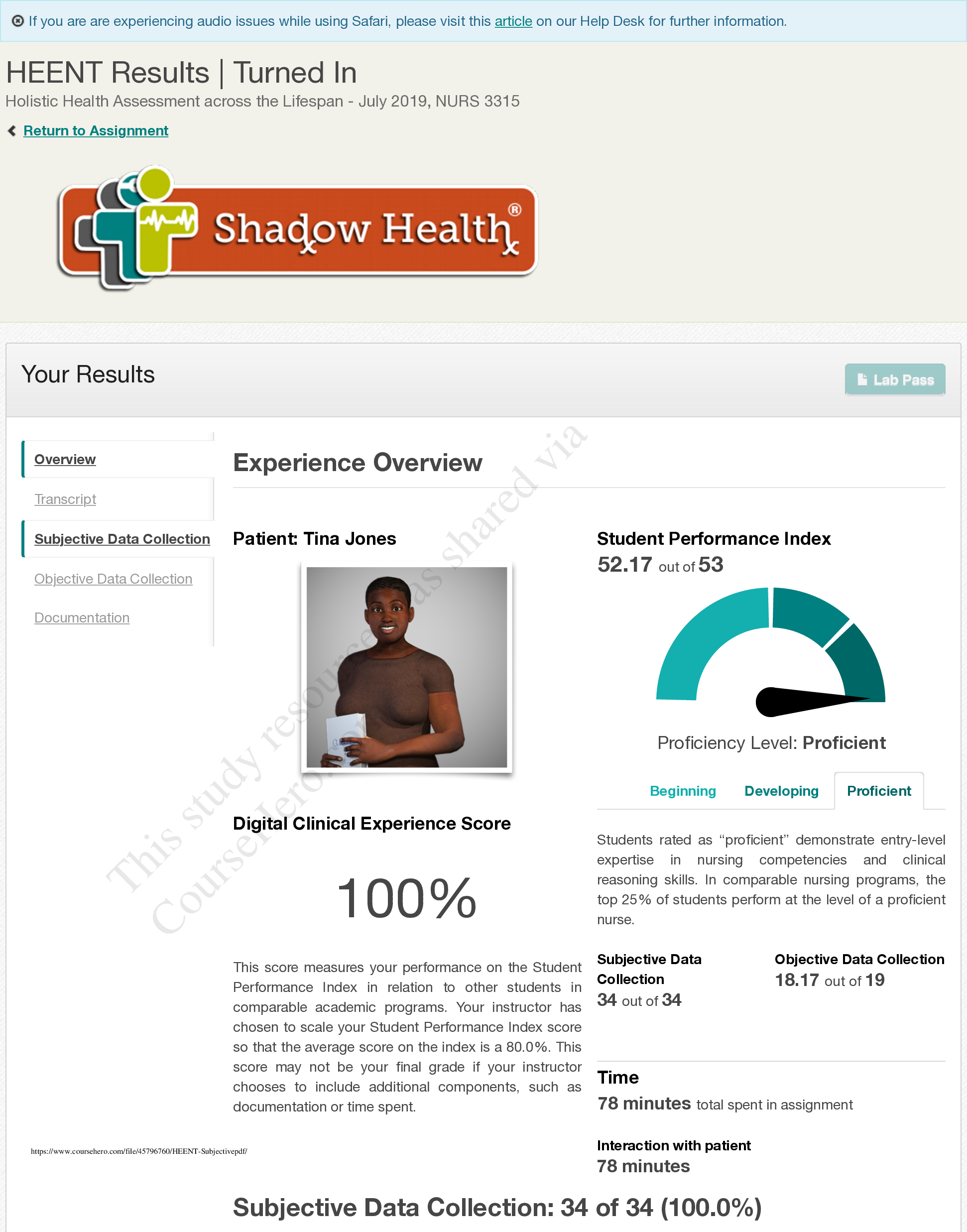 Heent Subjective Shadow Health Results Heent Results Tina Jones Writing Services Assessment Holistic Health
