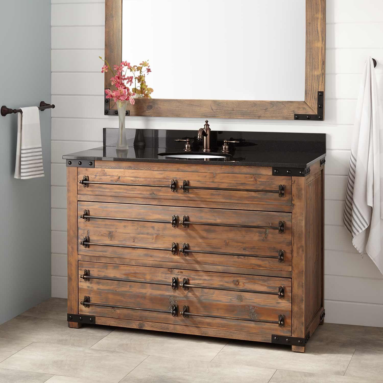 48 Bonner Reclaimed Wood Vanity For Undermount Sink Gray Wash Pine Bathroom Vanities Ba Reclaimed Wood Vanity Reclaimed Wood Bathroom Vanity Wood Vanity