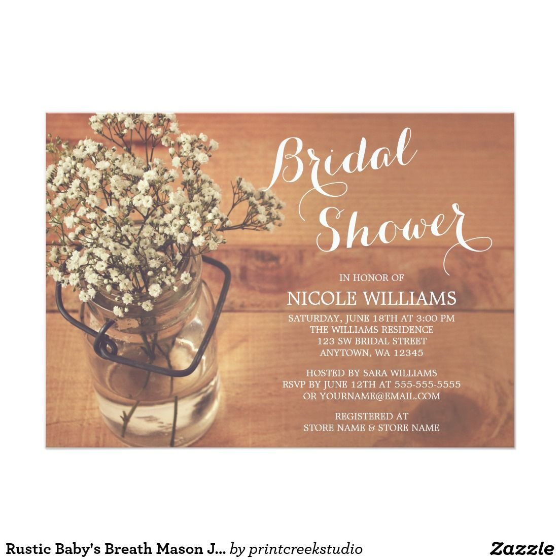 rustic baby's breath mason jar wood bridal shower card | bridal, Baby shower invitations
