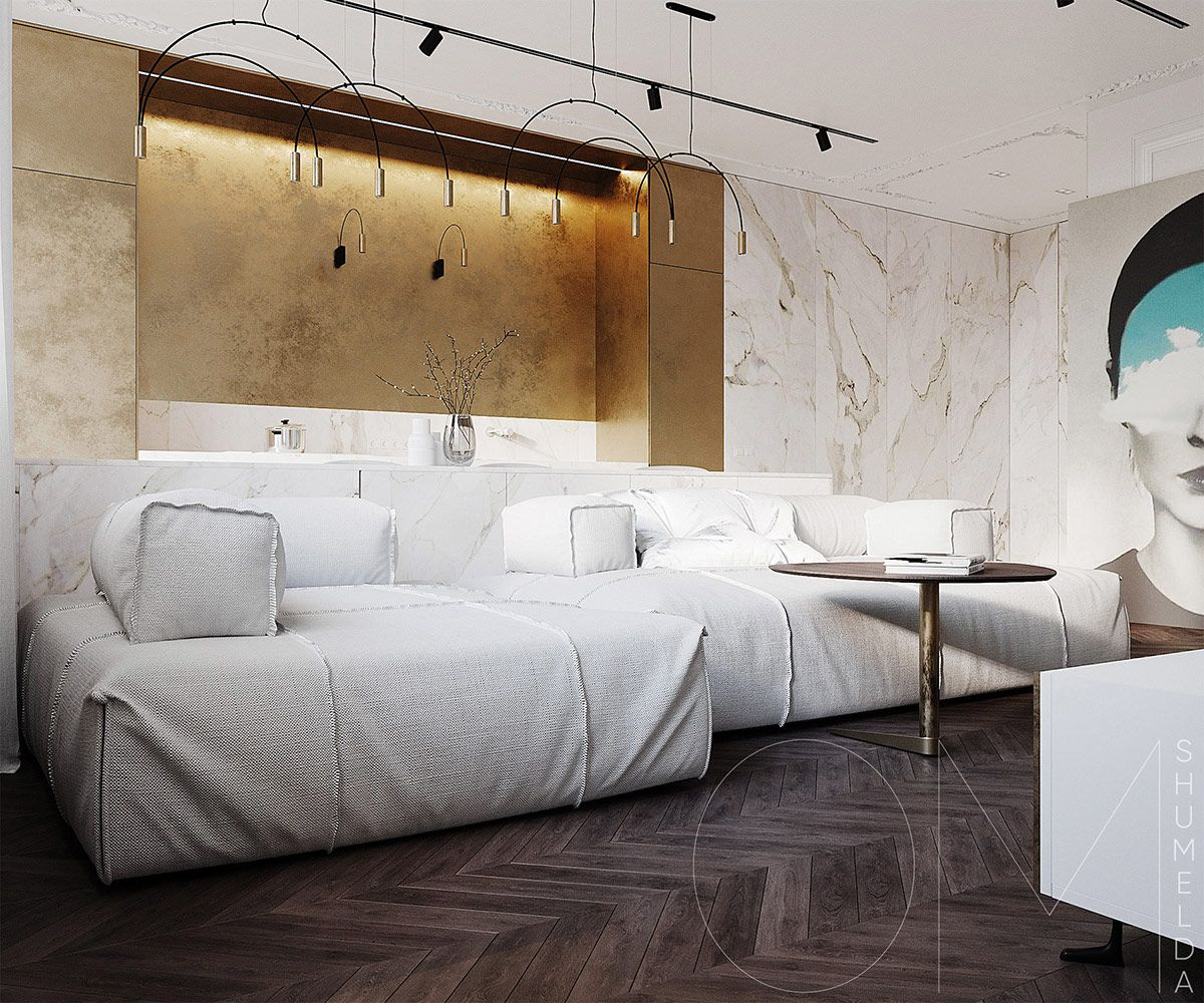 3 Luxe Home Interiors With White Marble Gold Accents Luxurious