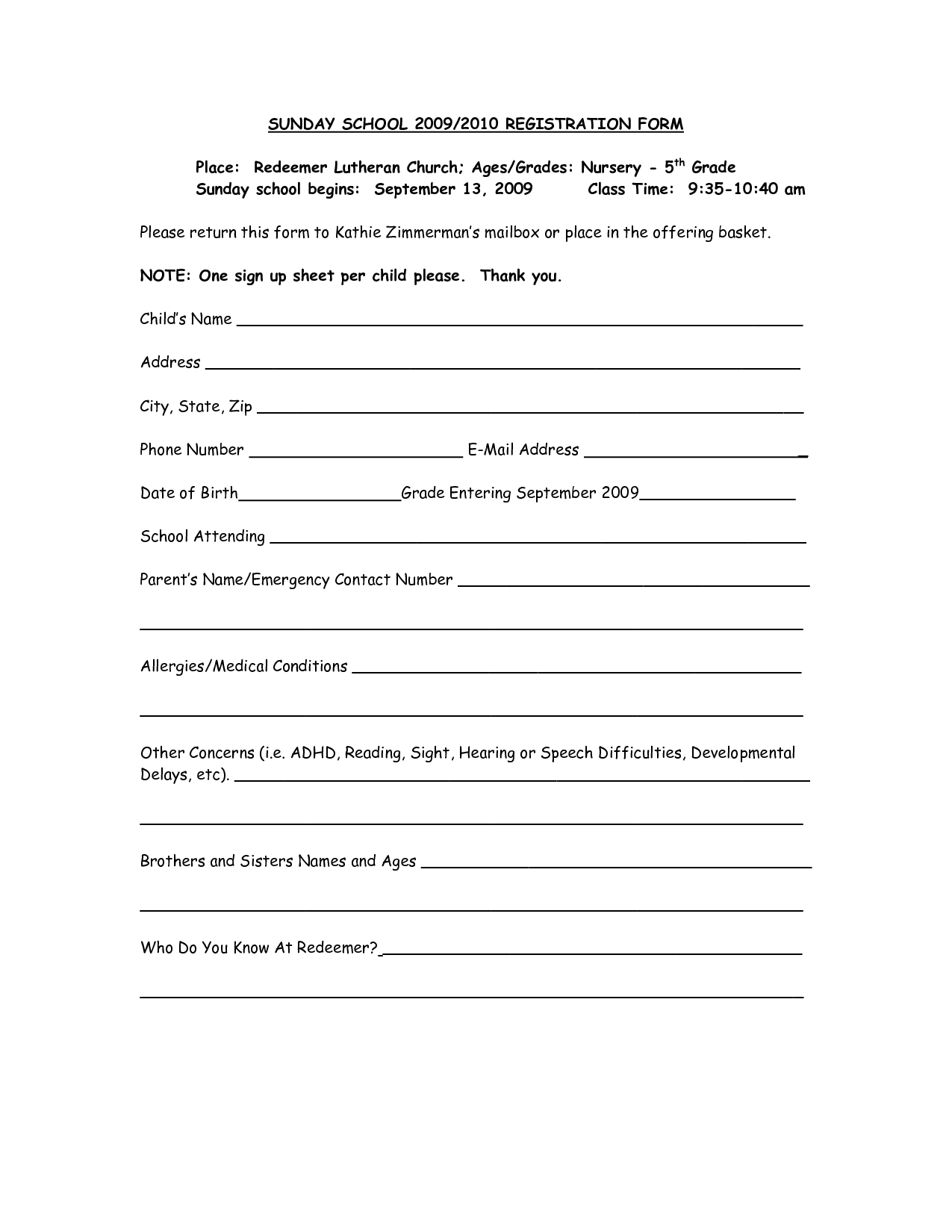 BSundayB BSchoolB  Registration BFormB