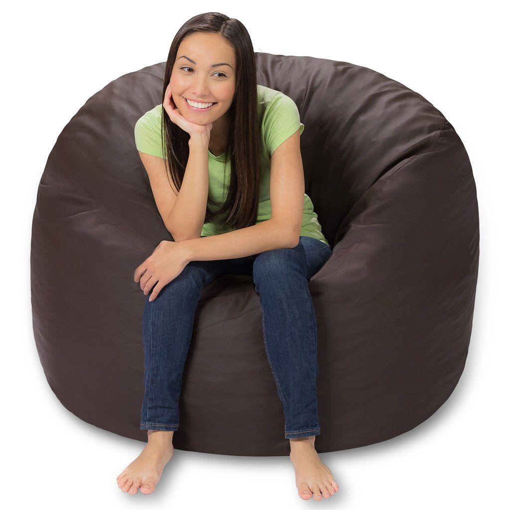Marvelous Comfy Sacks 4 Ft Memory Foam Bean Bag Chair Brown Faux Dailytribune Chair Design For Home Dailytribuneorg