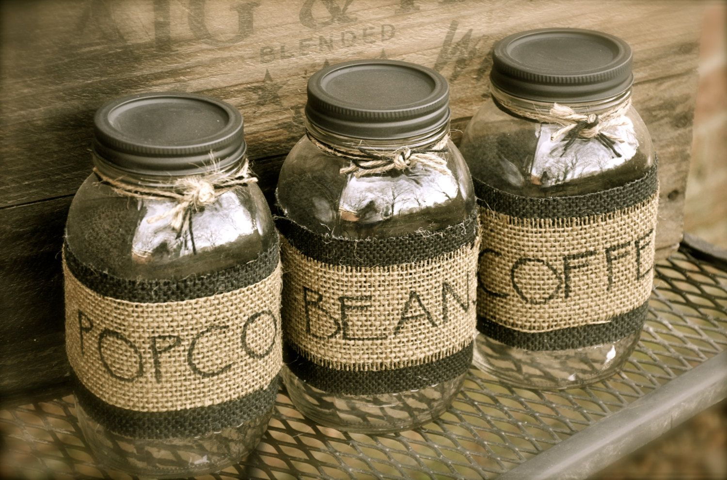 Personalized Mason Jar And Burlap Canisters, Rustic Kitchen Canisters.  $9.99, Via Etsy.
