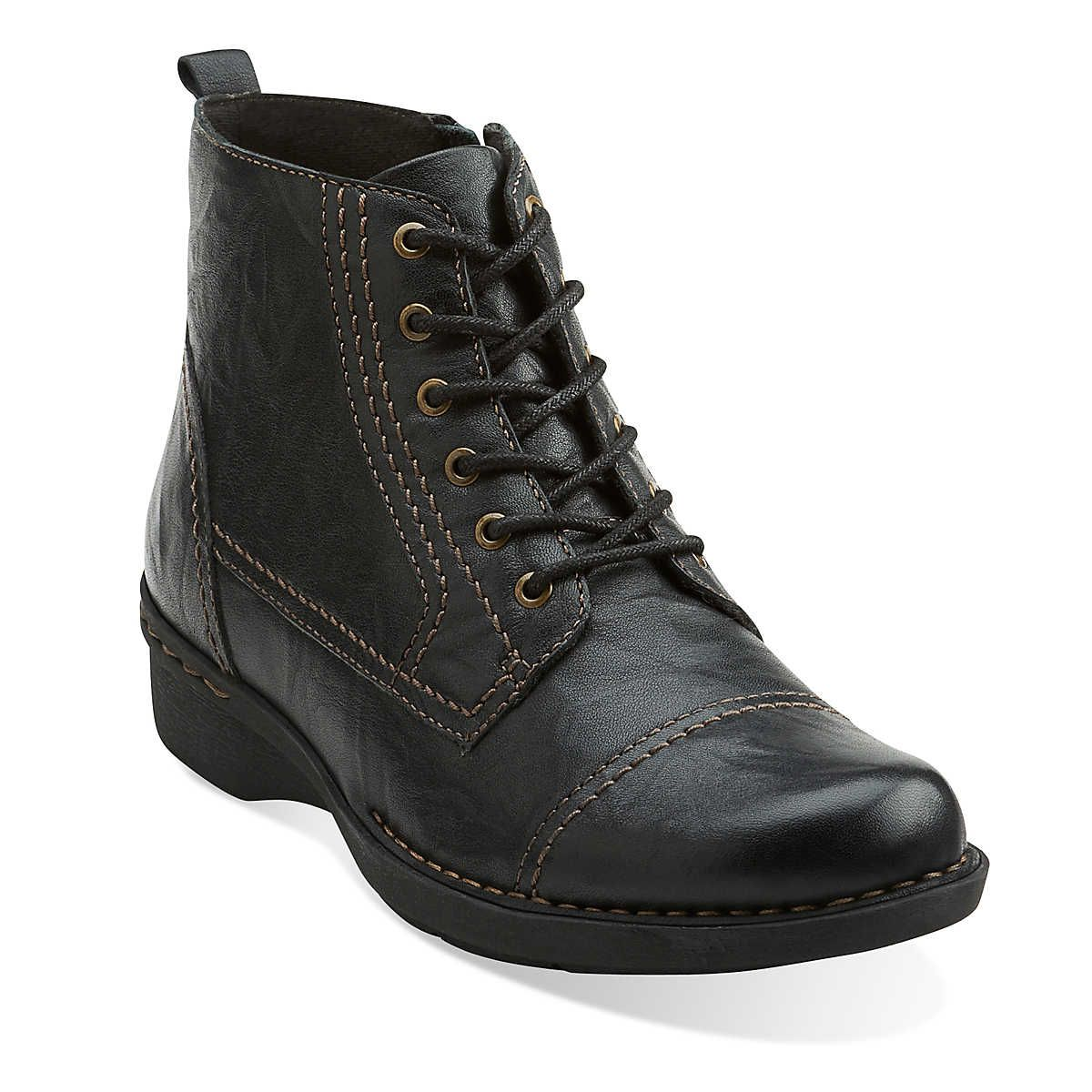 Whistle Vine in Black Leather - Womens Boots from Clarks