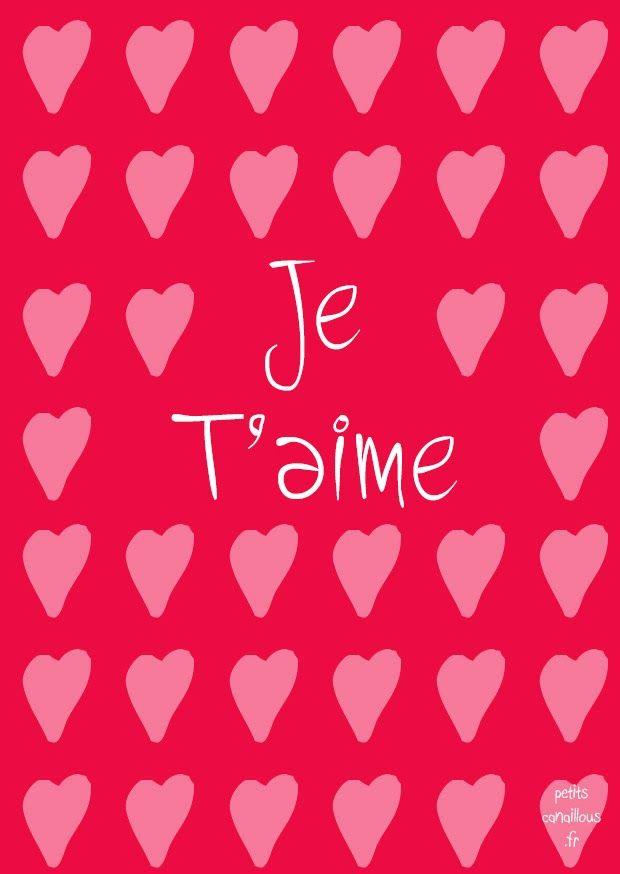 Carte de saint valentin imprimer gratuit je t 39 aime coeur par petits free - Coeur de st valentin a imprimer ...