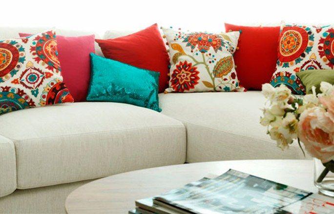 sofa colores | Cojines decorativos para sala, Decoracion de