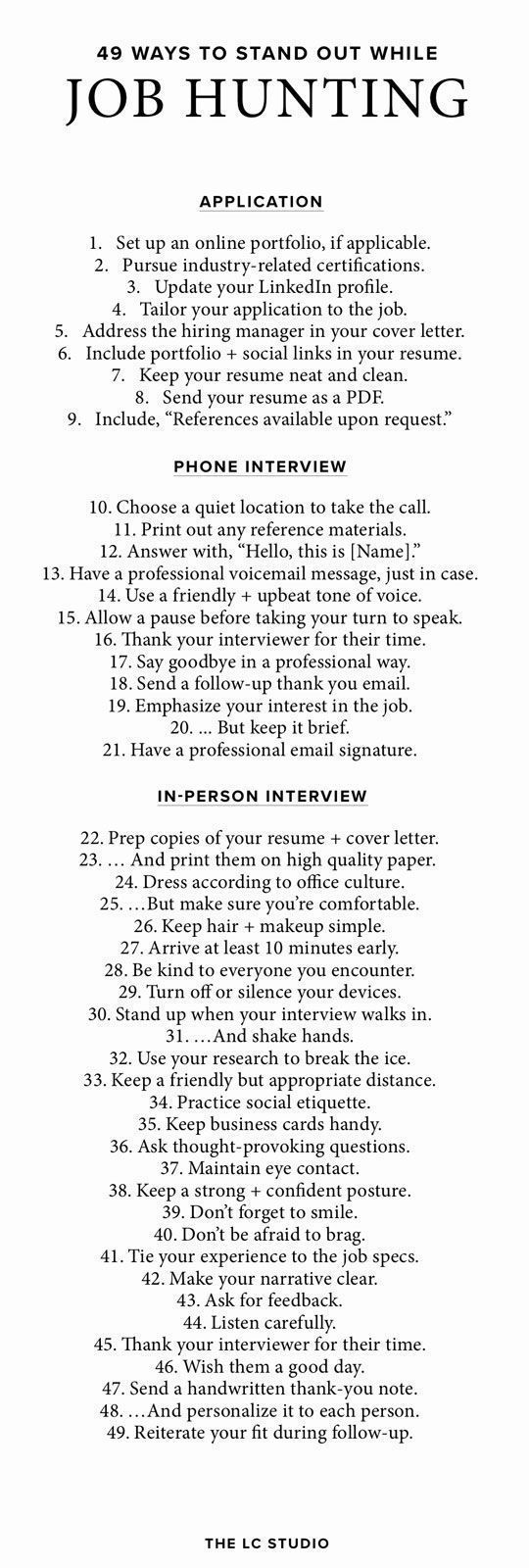 49 Ways To Stand Out During The Interview Process | Hire Me ...