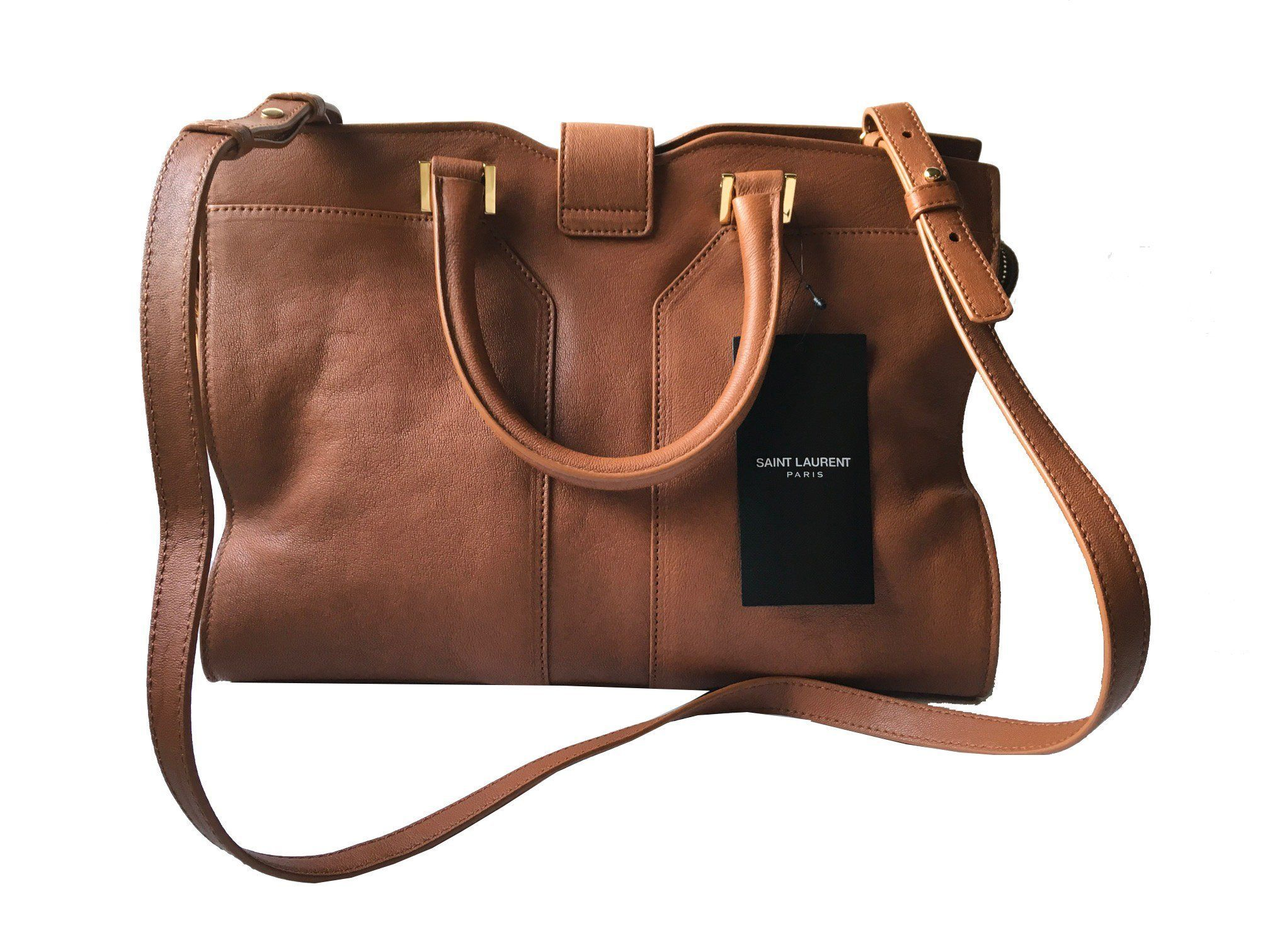 480ef7afb0 Saint Laurent YSL Women's Brown Ligne Y Satchel Handbag 400666 ...