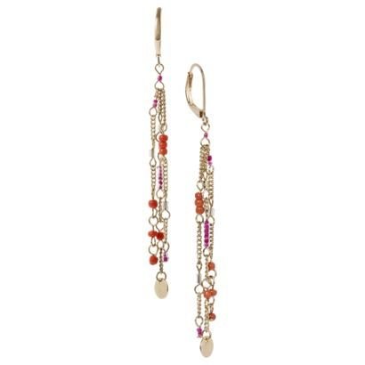 Women's Three Strand Beaded and Metal Linear Drop Earring - Pink/Orange/Gold