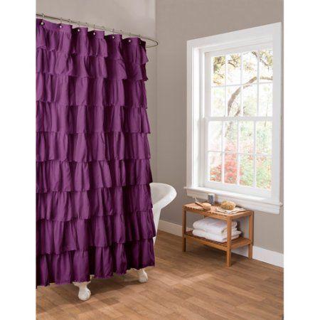 Essential Living Ruffle Purple Shower Curtain - Walmart.com for the ...