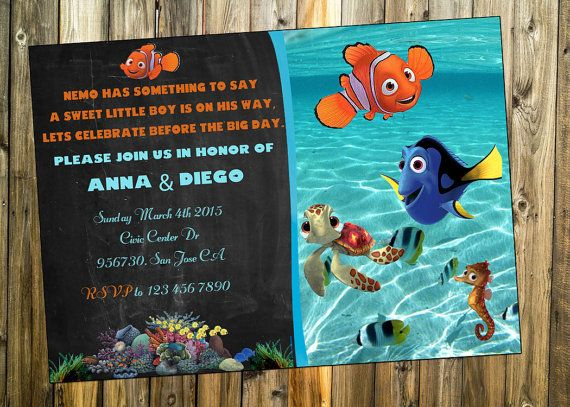 Finding Nemo Baby Shower Invitation Dory Boy Or