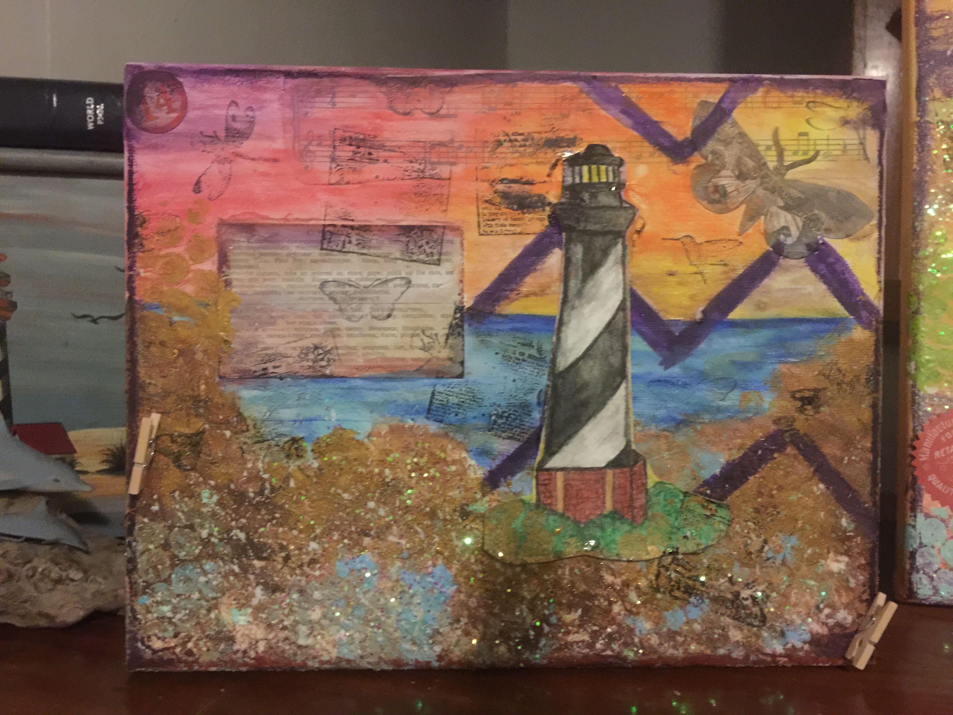 Another mixed media lighthouse lighthouse art art
