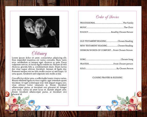 Funeral program template order of service memorial program baby
