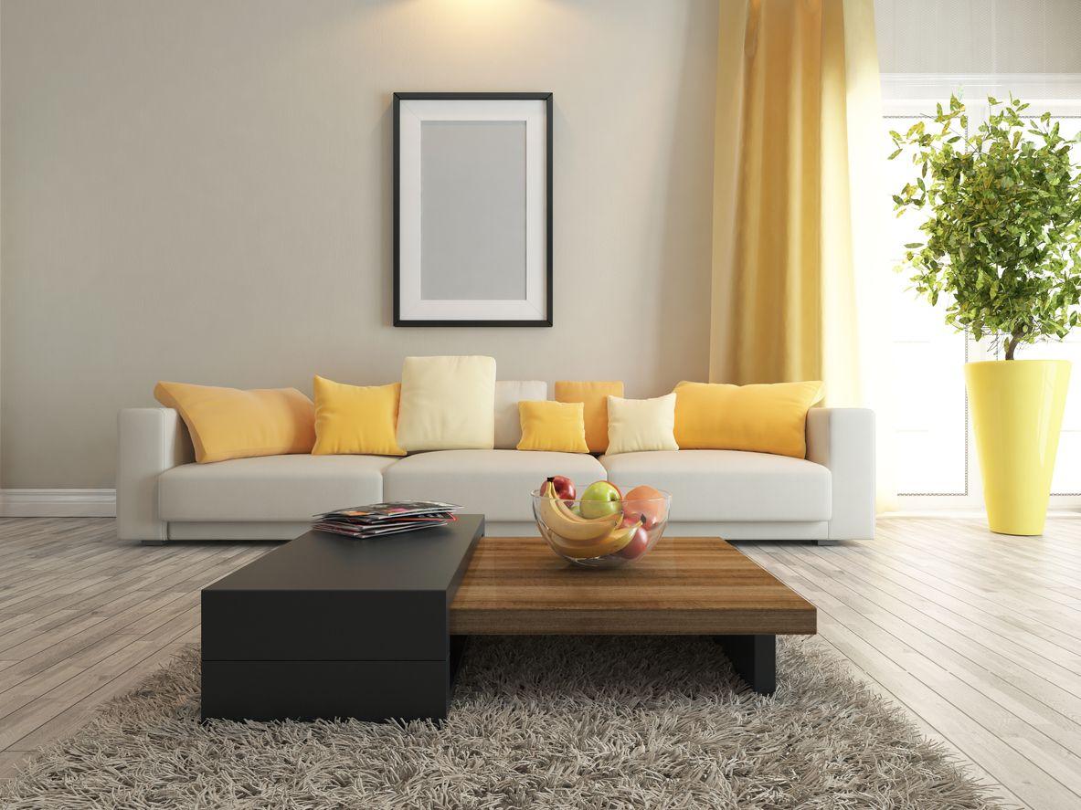 Gelb lässt sich als akzentfarbe gut mit grau kombinieren