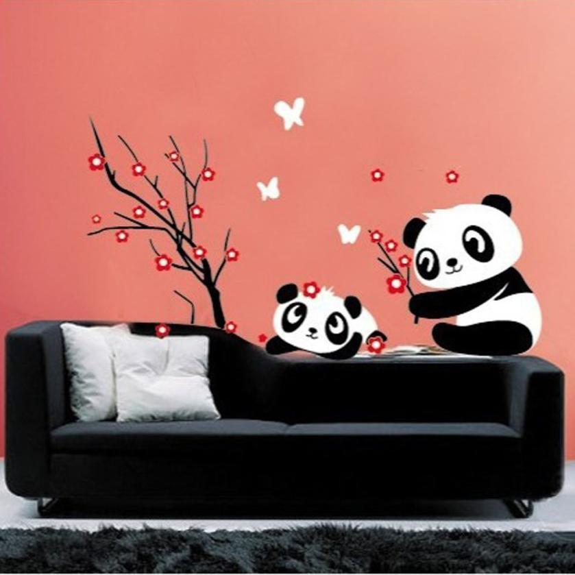 Wall Stickers Home Decor Diy Panda Bamboo Pattern Removable