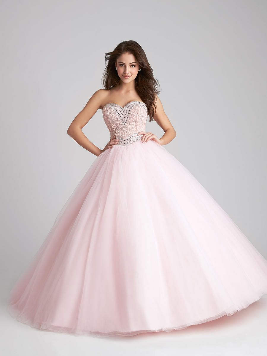 630c1ca5954 Allure Q532 is pretty in pastel. This strapless Quinceanera ballgown will  be the highlight of your event with its strapless sweetheart beaded bodice  and ...
