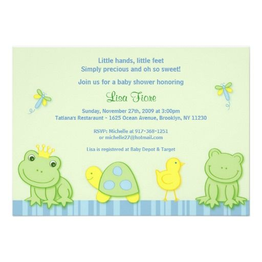 Froggy Tales Frog Custom Baby Shower Invitations Turtle and Frog
